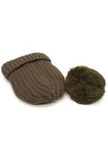 Bonnet en coffret 3 pompons interchangeables Kaki