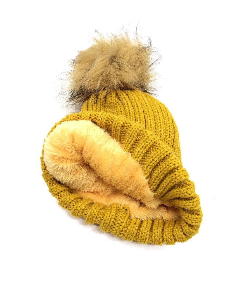 Bonnet en coffret 3 pompons interchangeables Moutarde