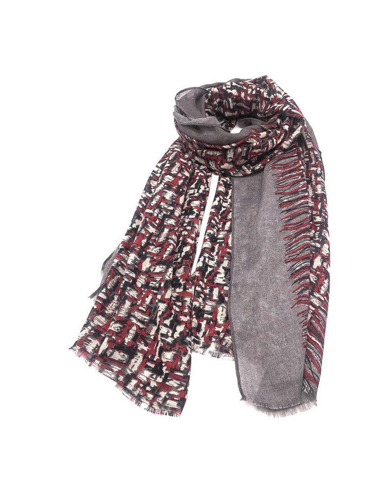Echarpe imprimée carreaux flou rouge