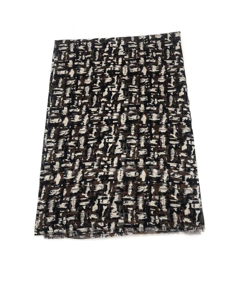 Echarpe imprimée carreaux flou noire