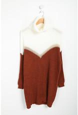 Robe pull bicolore rouille