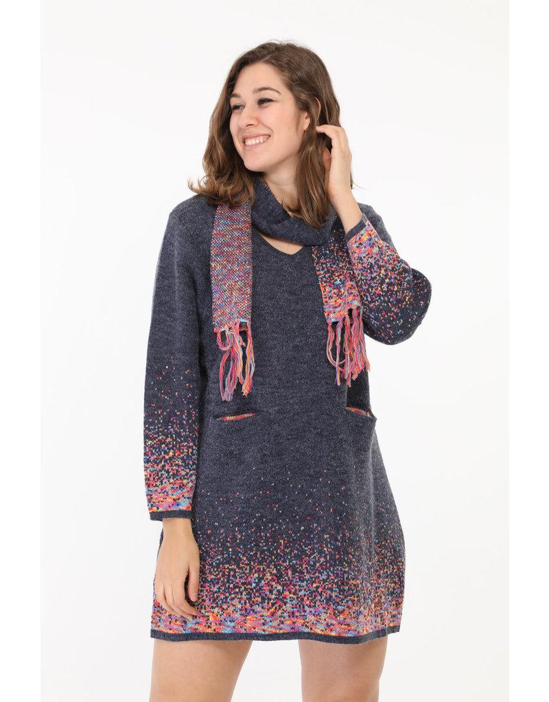 Robe bleu dégradé laine