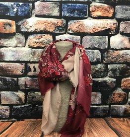 EMB Foulard fleurs rouge