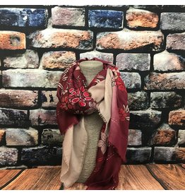Foulard fleurs rouge
