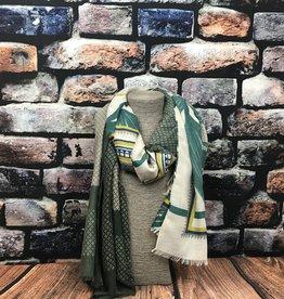 EMB Foulard feuille beige vert