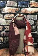 EMB Foulard feuille beige rouge