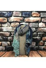 Foulard feuillage gris bleu turquoise