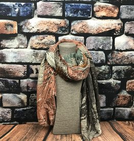 EMB Foulard feuillage rouille taupe corail