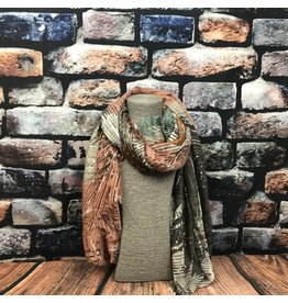 Foulard feuillage rouille taupe corail