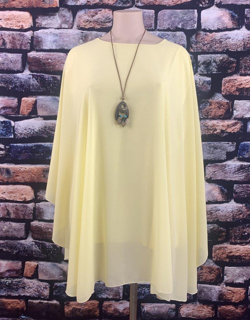 EMB Tunique extra ample grande taille jaune pale avec collier