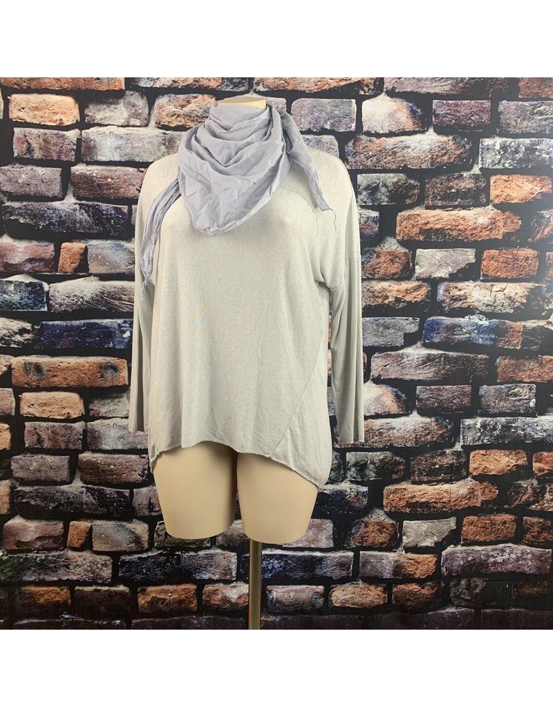 Tee shirt GRIS ML bord lurex foulard uni offert