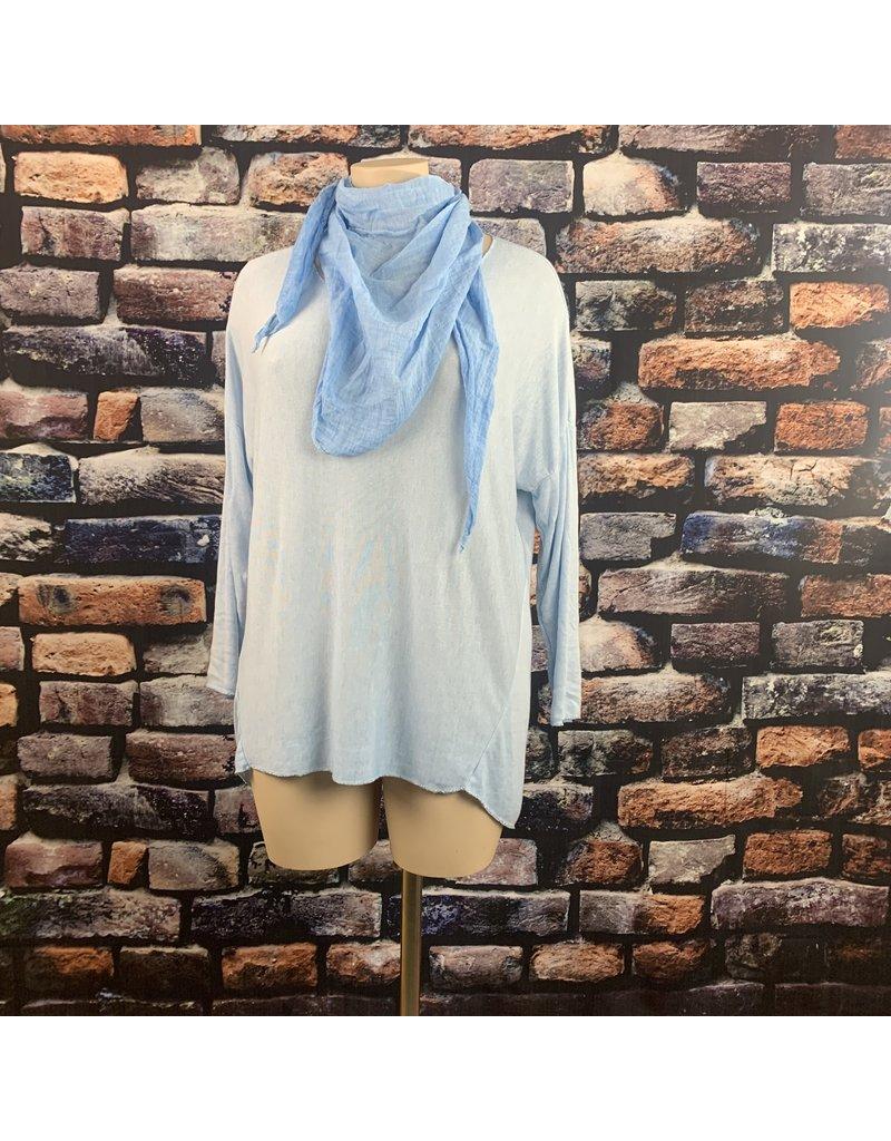 Tee shirt BLEU CIEL ML bord lurex foulard uni offert