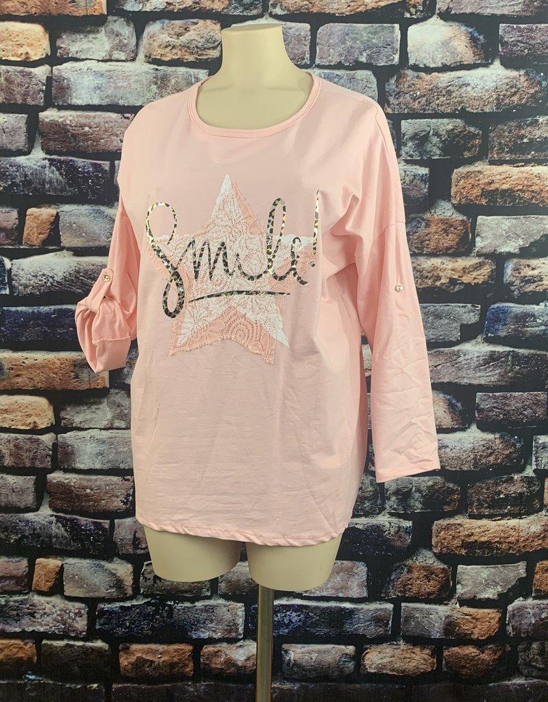 EMB Sweat grande taille SMILE rose