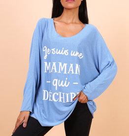 EMB Tee shirt manche longue MAMAN bleu jeans TU