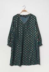 EMB Robe courte verte à motif