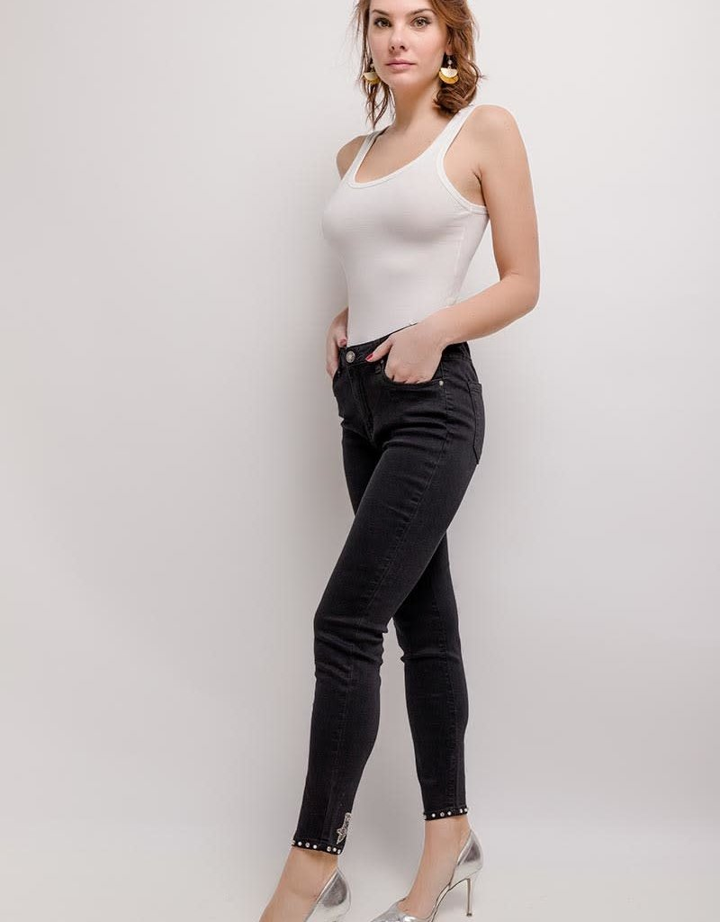 EMB Jeans noir avec noeuds aux chevilles