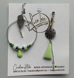 Haceloca Boucles d'oreilles verte base argentée