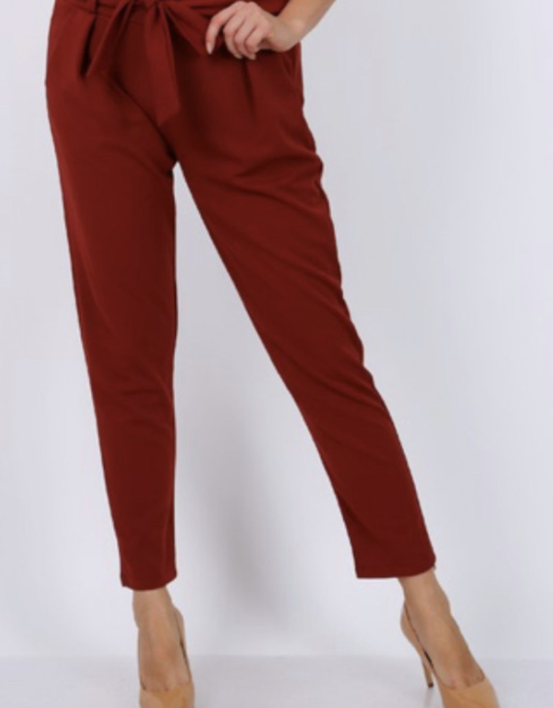 Pantalon ceinture bordeaux