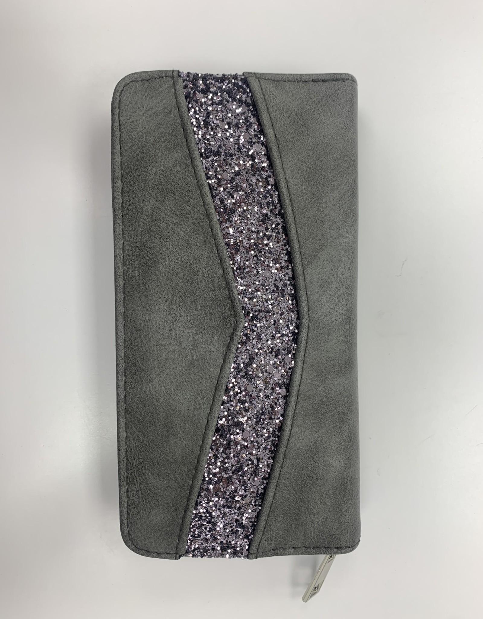 EMB Portefeuille gris avec strass