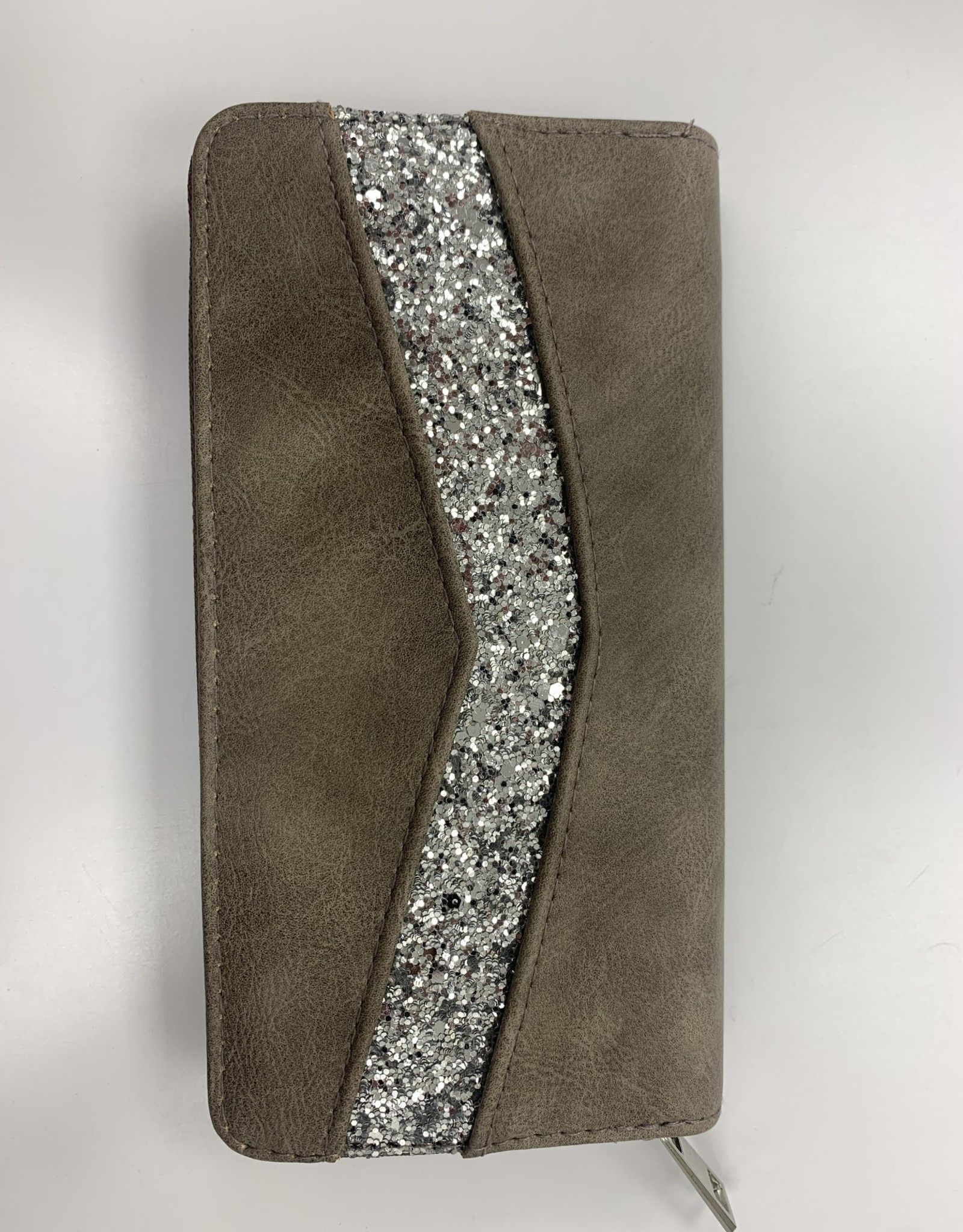 EMB Portefeuille taupe avec strass