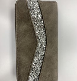 Portefeuille taupe avec strass