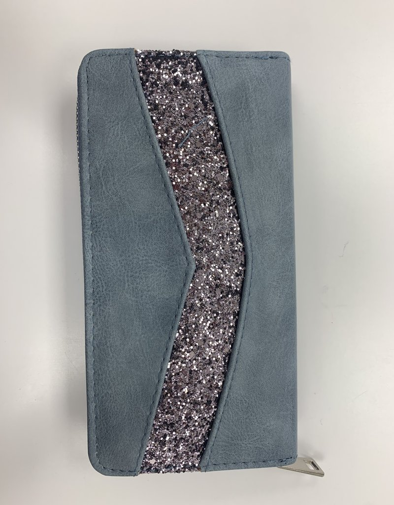 Portefeuille bleu avec strass