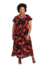 Allez Simplement Longue robe orange et noire