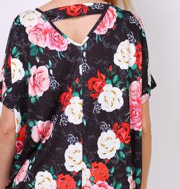 EMB Robe blouse matiere tee shirt grosse fleur