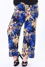 EMB Pantalon fluide bleu à feuilles