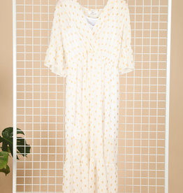 EMB Robe longue blanche et or