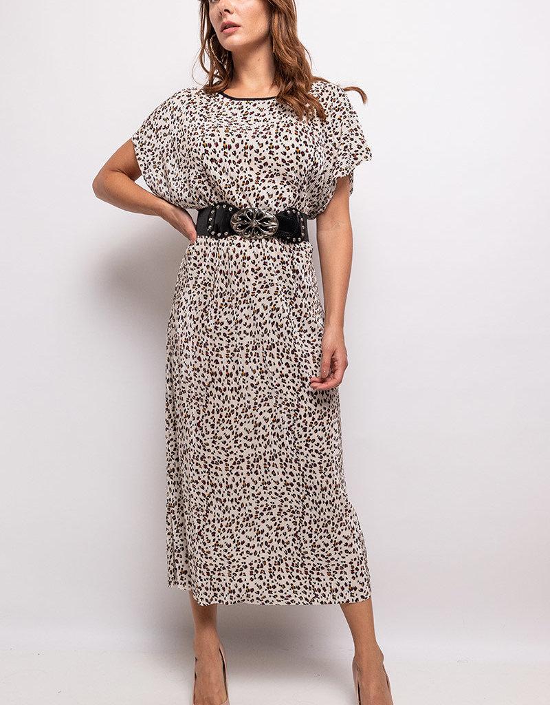 Robe longue manche courte plissée imprimé