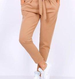 EMB Pantalon ceinture noeud caramel
