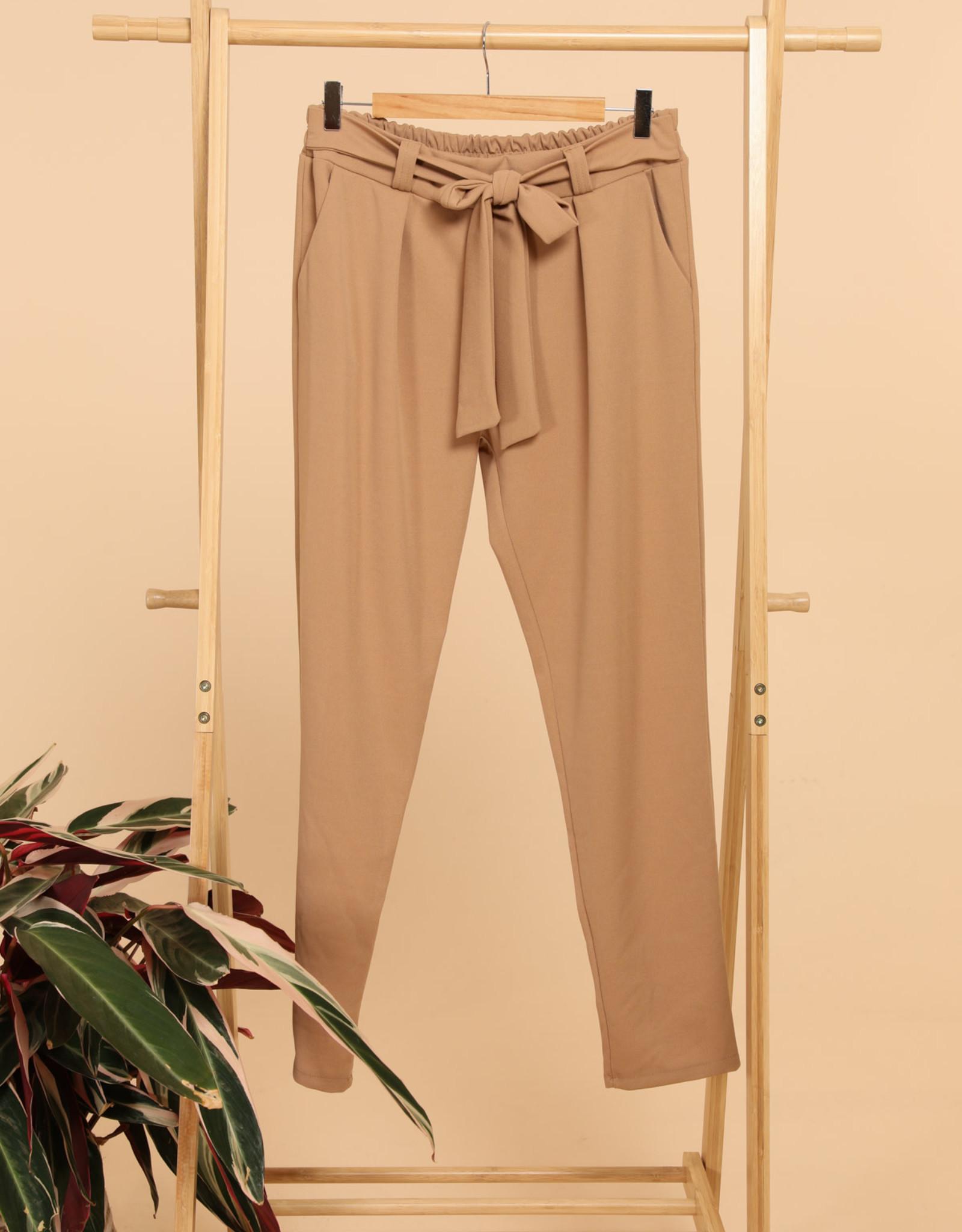 EMB Pantalon ceinture caramel