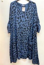 EMB Robe  bleu jeans oversize imprimé leopard