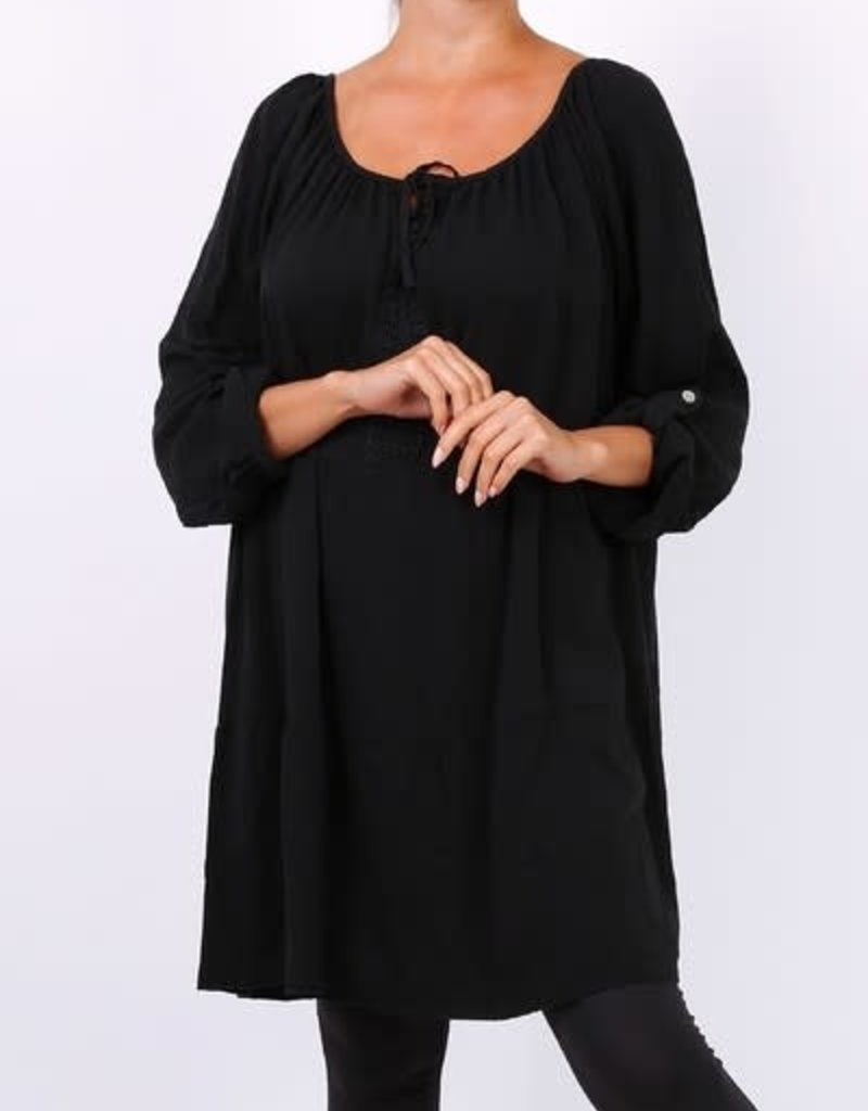 EMB Robe tunique boheme noire
