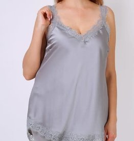 Top satiné dentelle gris