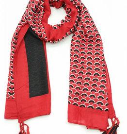 Echarpe demi rond rouge