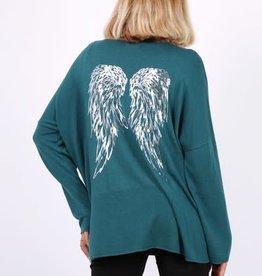 Pull leger ailes d'anges vert pétrole