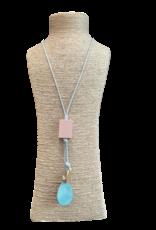 EMB Collier sautoir metal peint pastel cordon coton ciré
