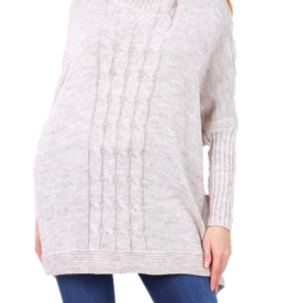 EMB Pull col roulé oversize  beige