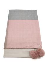 EMB Echarpe avec pompon vieux rose et gris