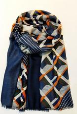 EMB Foulard bleu géometrique