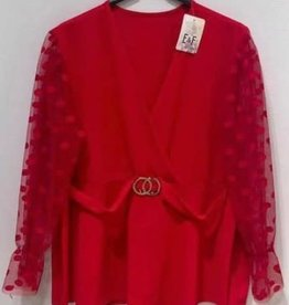 EMB Blouse Chann rouge