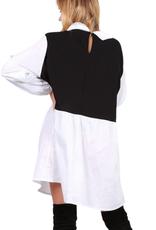 EMB Blouse chemise col claudine bicolore