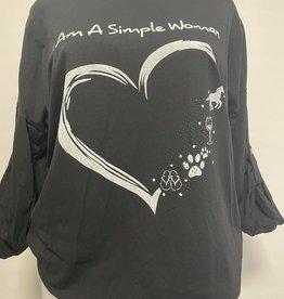 EMB Tee shirt I am a simple Woman Noir