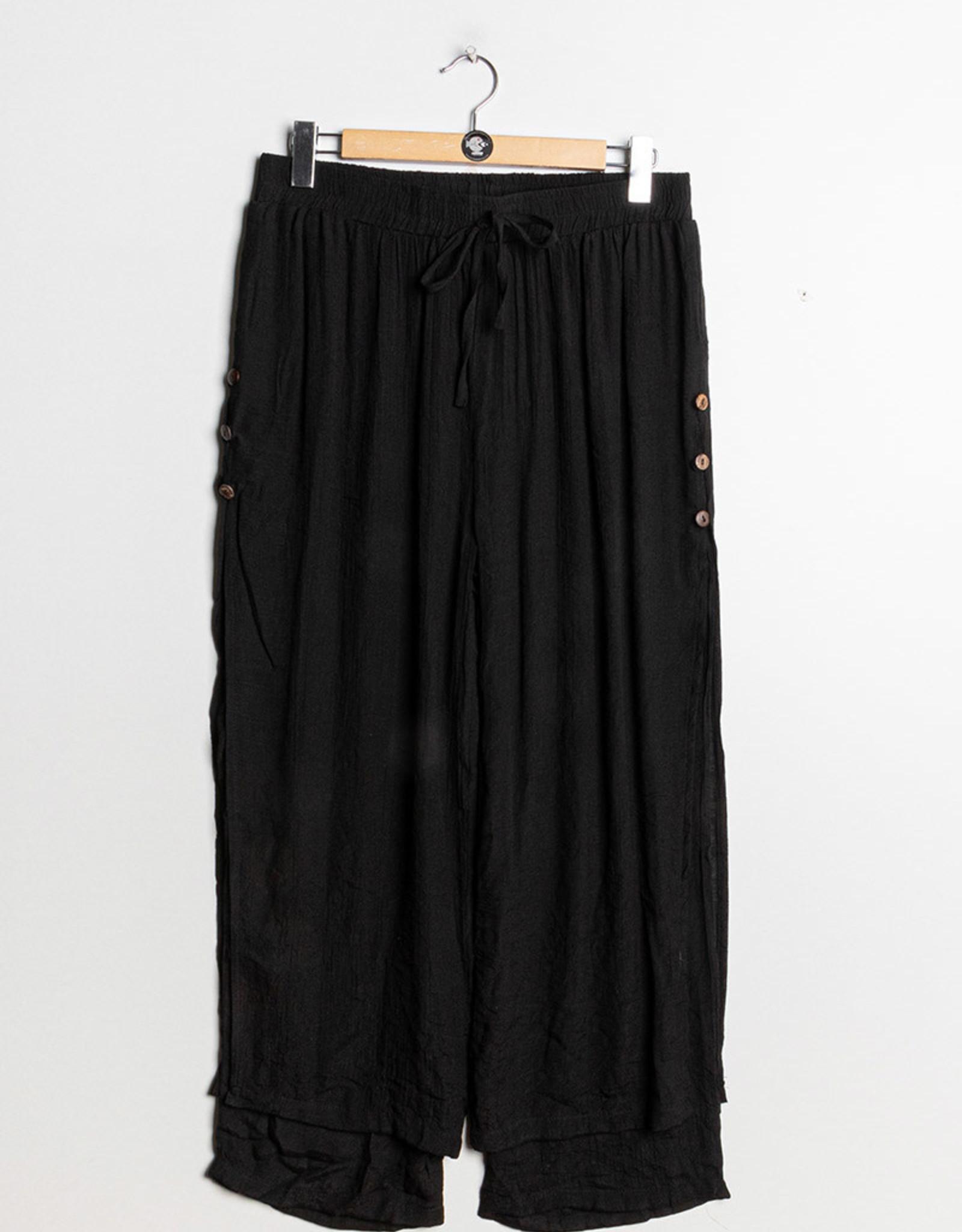 EMB Pantalon fluide à nouer noir