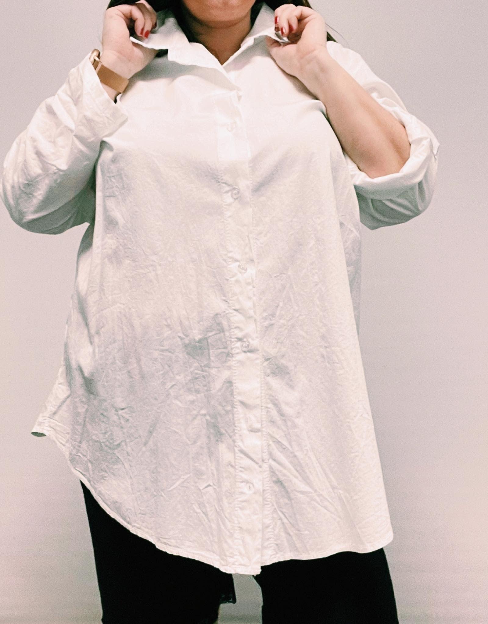 EMB Chemise unie en coton popeline blanche
