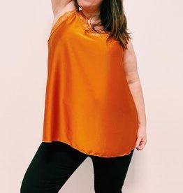 EMB Top dentelle satin dos elastique orange