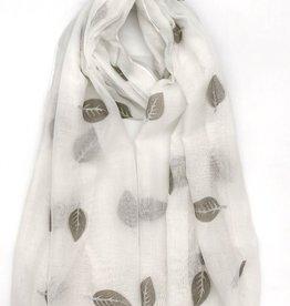 EMB Foulard léger blanc avec feuilles