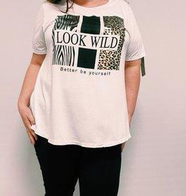 EMB Tee shirt LOOK WILD blanc